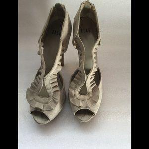 Elle Taupe Microsuede  Peep Toe Heels